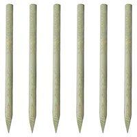 vidaXL Słupki ogrodzeniowe, zaostrzone, 6 szt., 150 cm, drewno FSC