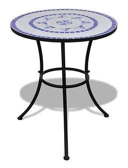 vidaXL Stolik mozaikowy 60 cm niebiesko-biały