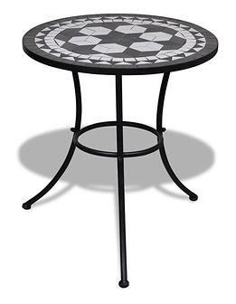 vidaXL Stolik mozaikowy 60 cm czarno-biały