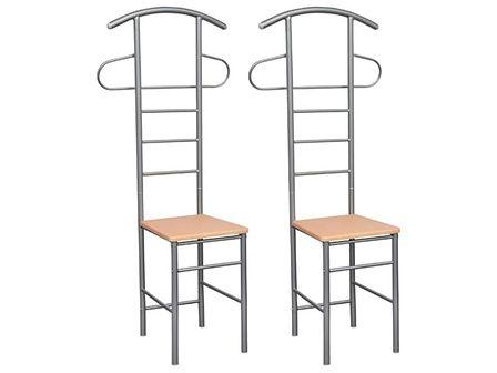 vidaXL Krzesło z wieszakiem na garnitur, 2 szt., metalowe