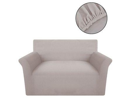 vidaXL Elastyczny pokrowiec na sofę z poliestru, beżowy