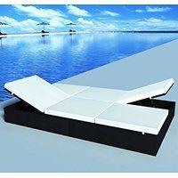 vidaXL Podwójny leżak z poduszką, polirattan, czarny