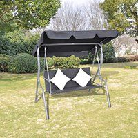 vidaXL Rattanowa huśtawka ogrodowa z daszkiem, w czarnym kolorze