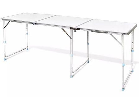 vidaXL Składany, aluminiowy stół kempingowy z regulacją wysokości 180 x 60 cm