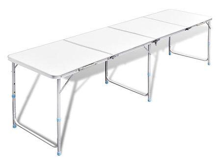 vidaXL Składany, aluminiowy stół kempingowy z regulacją wysokości 240 x 60 cm