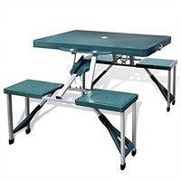 vidaXL Zestaw kempingowy stół+krzesła aluminium kolor zielony