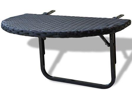 vidaXL Rattanowy stół balkonowy, czarny