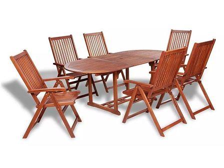 vidaXL Zestaw mebli ogrodowych z rozkładanym stołem, 7 części, drewno