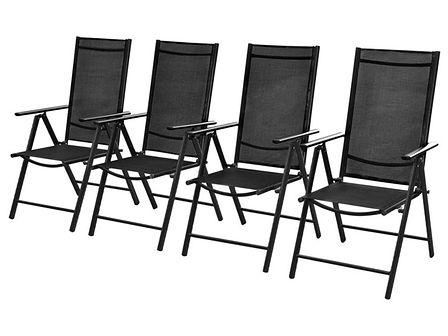 vidaXL Aluminiowe krzesła ogrodowe, 4 szt., czarne, 54x73x107 cm