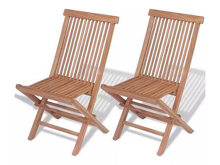 vidaXL Składane krzesła z drewna tekowego, 2 szt., 47x60x89 cm