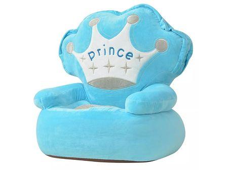 vidaXL Fotel dla dzieci PRINCE, pluszowy, niebieski