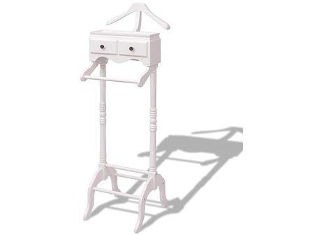 vidaXL Wieszak na ubrania z szafką, drewno, biały