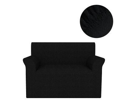 vidaXL Elastyczny pokrowiec na sofę, pikowany, czarny
