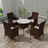 vidaXL 5-cz. zestaw mebli ogrodowych z poduszkami, rattan PE, brązowy