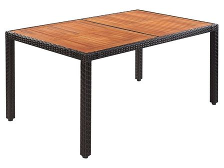 vidaXL Stół do ogrodu, rattan PE i drewno akacjowe, 150x90x75 cm