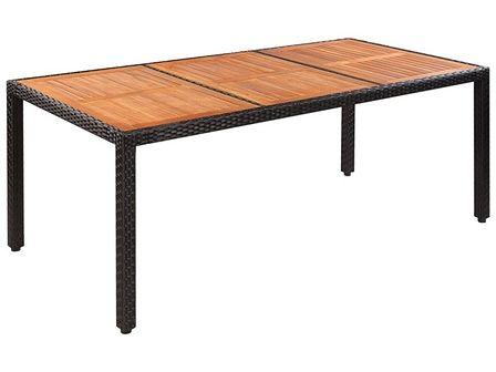 vidaXL Stół do ogrodu, rattan PE i drewno akacjowe, 190x90x75 cm