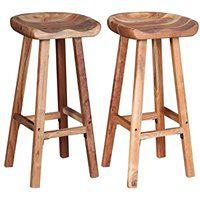 vidaXL Dwa stołki barowe z drewna akacjowego, 38x37x76 cm