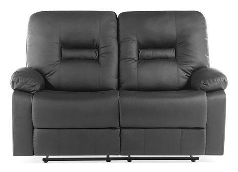 Sofa skóra ekologiczna dwuosobowa czarna rozkładana BERGEN
