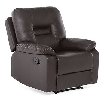 Fotel skóra ekologiczna brązowy rozkładany BERGEN