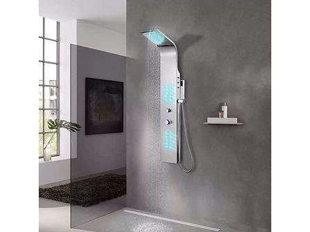 vidaXL Panel prysznicowy ze stali nierdzewne,j zakrzywiony