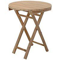 Stolik składany, okrągły - drewno bambusowe, Ø 50 cm x H 60 cm