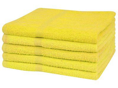 vidaXL Ręczniki kąpielowe, 5 szt, bawełna, 360 g/m², 100x150 cm, żółte