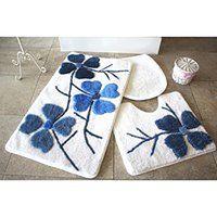 Zestaw 3 niebiesko-białych dywaników łazienkowych Flowers
