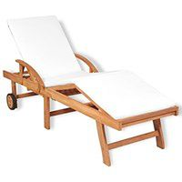 vidaXL Leżak z poduszką, lite drewno tekowe