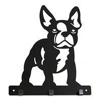 Wieszak potrójny na ścianę ubrania klucze PIES french BULDOG hak na smycz obrożę dla psa czarny