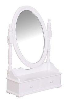 Drewniana szkatułka na biżuterię z lustrem, kolor biały