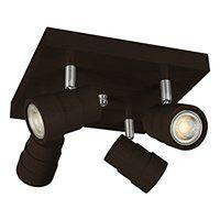Lampa, spot sufitowy, reflektor LED LEDWA25x25-WENGE czteropunktowy z litego drewna