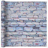 vidaXL Parawan balkonowy z tkaniny oxford, 75x600 cm, motyw muru