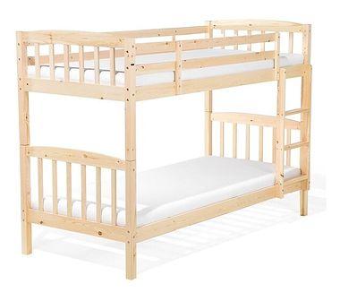 Łóżko piętrowe jasne drewno 90 x 200 cm REVIN
