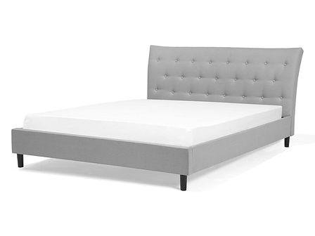 Łóżko jasnoszare tapicerowane 140 x 200 cm SAVERNE