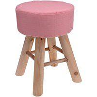 Miękki taboret czteronożny, stołek, podnóżek, pufa, kolor różowy