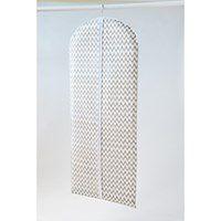 Biały materiałowy pokrowiec na ubrania Compactor Clear, 137 cm