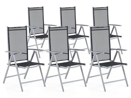 Zestaw do ogrodu 6 krzeseł czarne aluminiowe regulowane CATANIA