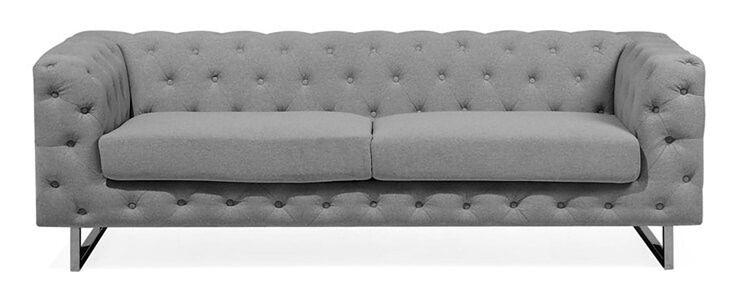 Sofa tapicerowana trzyosobowa jasnoszara VISSLAND