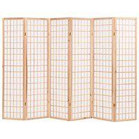 vidaXL Parawan 6-panelowy w stylu japońskim, 240x170 cm, naturalny