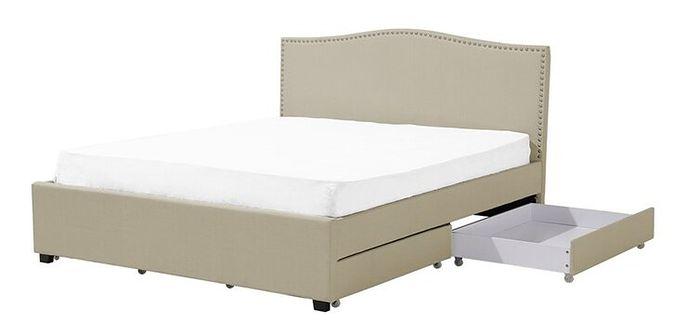 Łóżko beżowe tapicerowane pojemnik 160 x 200 cm MONTPELLIER