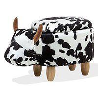 Hoker tapicerowany czarno-biały COW