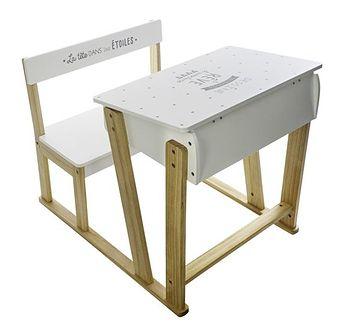 Stolik z krzesełkiem dla dziecka, krzesełko i stolik dla dziecka, stolik drewniany, stolik konsola, stolik edukacyjny, białe biurko