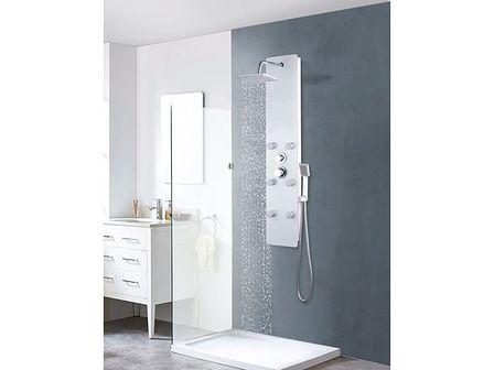 vidaXL Panel prysznicowy, szkło, 25 x 44,6 x 130 cm, biały
