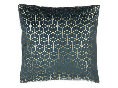 Poduszka dekoracyjna wzorzysta welur ciemnoniebieska 45 x 45 cm CELOSIA