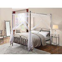 Łóżko z baldachimem MARQUISE - 140 × 190 cm - Metal o wyglądzie kutego żelaza