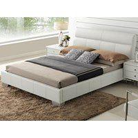 Łóżko WANDA - 160 × 200 cm - Skóra bawola - Biały