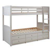 Łóżko piętrowe ANCHISE z możliwością rozdzielenia - 90 × 190 cm - Z półkami - Lakierowane na biało