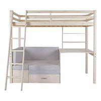 Łóżko antresola GOLIATH z biurkiem, sofą i szafkami - 90 × 200 cm - Lite drewno sosnowe - Bielone