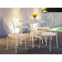 Jadalnia ogrodowa z kutego żelaza GUERMANTES: stół i 4 krzesła w kolorze białym