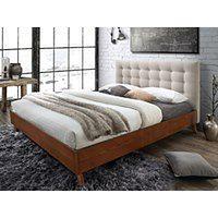 Łóżko FRANCESCO - 160 × 200 cm - Beżowa tkanina i drewno